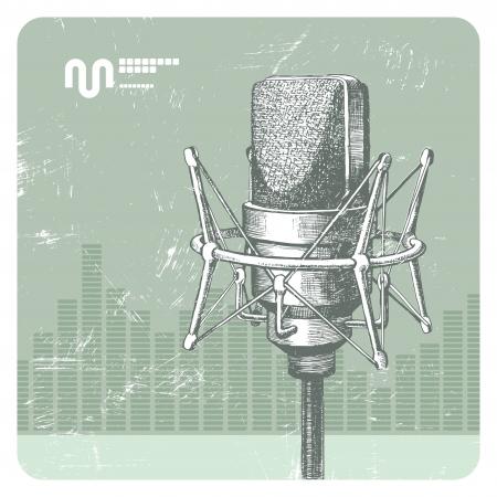 omroep: Hand getrokken vector studio condensator microfoon Stock Illustratie