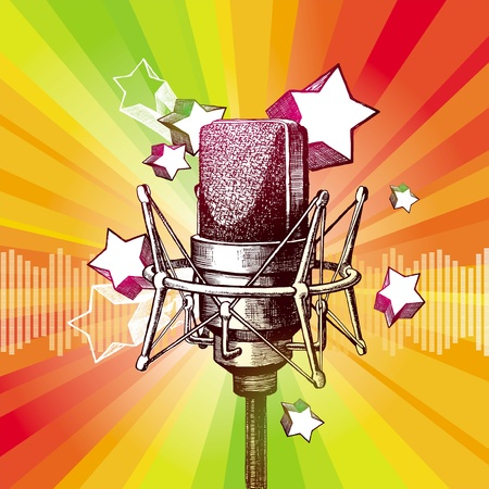 condenser: Vector hand drawn studio microphone and stars