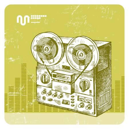 music machine: Vector hand drawn reel recorder