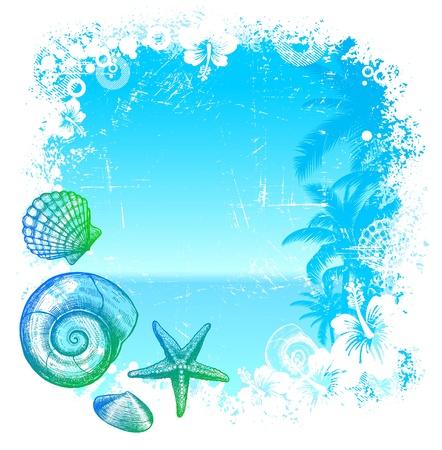 caracol: Hand drawn habitantes mar sobre un fondo tropical - ilustración vectorial