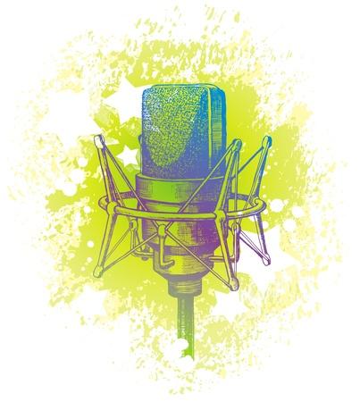condenser: Vector hand drawn studio condenser microphone