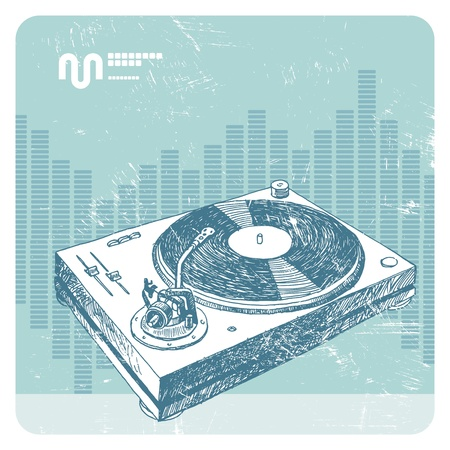 music dj: Hand drawn vector turntable