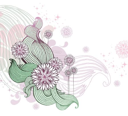 linear: Hand drawn floral vector illustration
