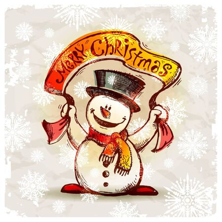 plackard: Vector hand drawn smiling snowman with holiday banner