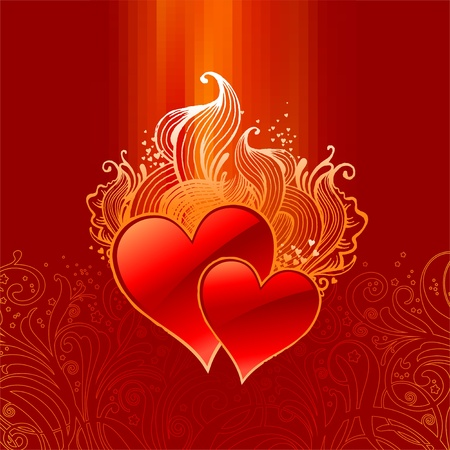 Vector ornate Valentines illustration with hearts Stock Vector - 9903106