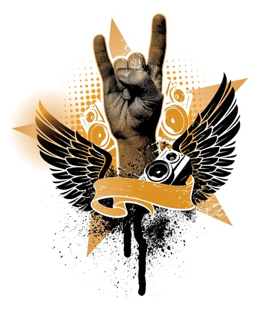rock hand: Emblema araldico di grunge vettoriale con segno di mano
