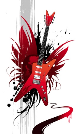 acustica: Illustrazione vettoriale di grunge con chitarra heavy metal