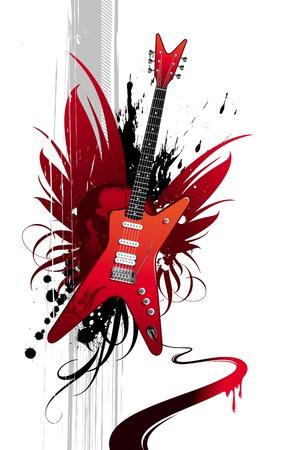 resonancia: Ilustraci�n de vector grunge con guitarra de heavy metal