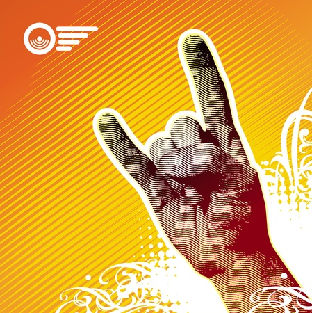heavy metal: Heavy metal hand sign - vector illustration