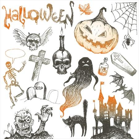 trumna: Halloween i horroru wózki narysowanych wektor zbioru