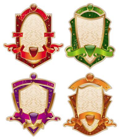 Vector heraldic shields with banners Vector