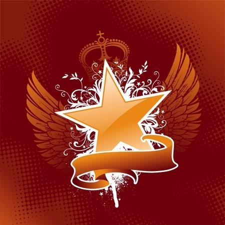 wings grunge: Vector emblem - Heraldic star Illustration