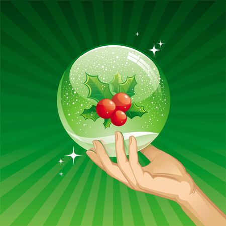 Hand holds snow globe with Holly berries - vector illustration Stock Vector - 9903068