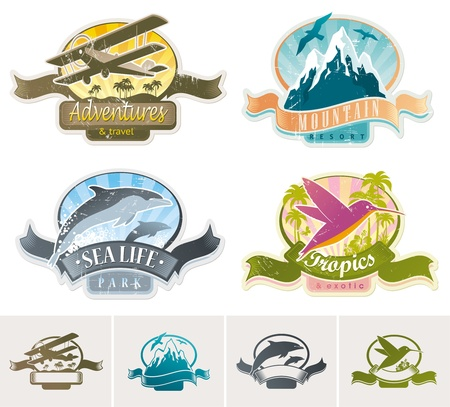 Landmarks, adventures & travel vintage vector label Stock Vector - 9903124