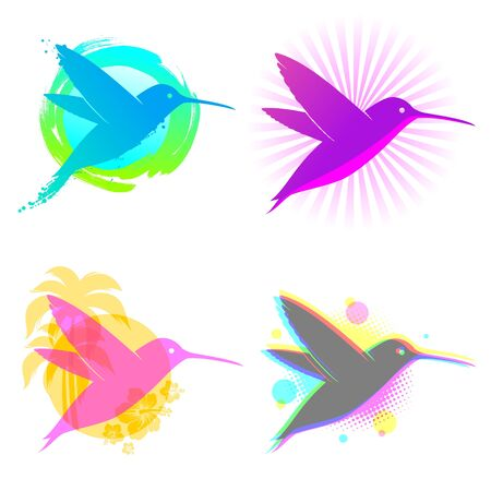 Hummingbird vector emblems Vector