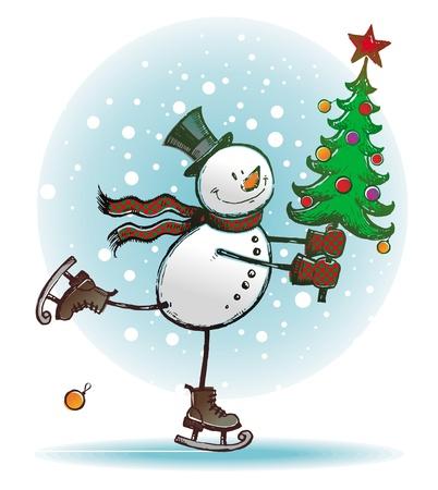 bolas de nieve: Hend vector dibujado - patinaje mu�eco de nieve con el �rbol de Navidad