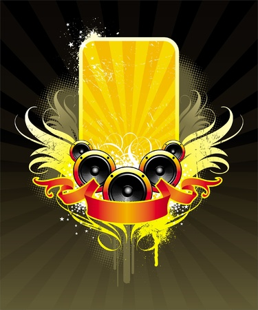 dance flyer: Vector illustration on a musical theme with loudspeakers