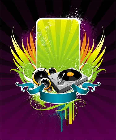 Vector illustration on a musical theme with turntable Vector