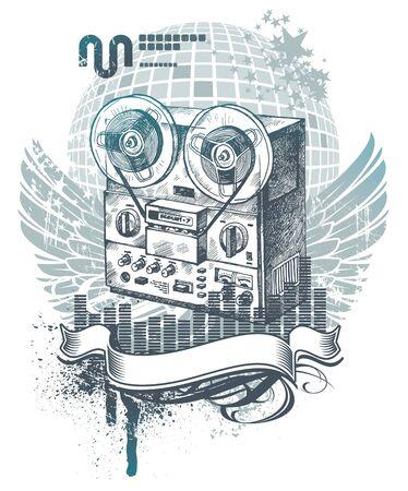 magnetofon: Ilustracja wektora z rÄ™cznie narysowanego magnetofonu