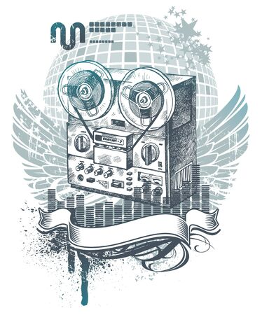 tape recorder: Vector illustration with hand drawn tape recorder Illustration