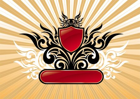 ornamental shield: Heraldic vector ornate illustration with red shield & frame