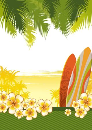 hawai: Ilustraci�n tropical vector con tablas de surf & flores de frangipani