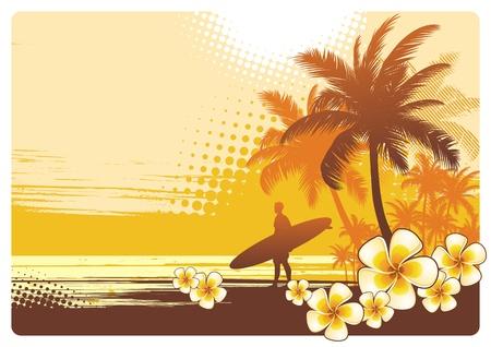 clima tropical: Ilustración vectorial con surfer y paisaje tropical