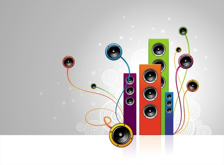 bass player: Vector illustration - colorful loudspeakers
