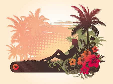 Hibiscus flowers & silhouette of a girl on a tropical landscape Vector