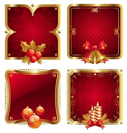 Christmas luxury golden vector frame with holidays symbols