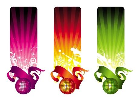 Banners vectoriales con bola de discoteca y cinta