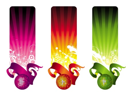 round dance: Vector banners with disco ball and ribbon Illustration