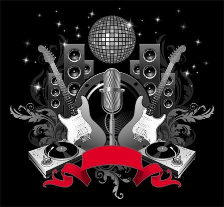 subwoofer: Illustrazione vettoriale con attrezzature musicali