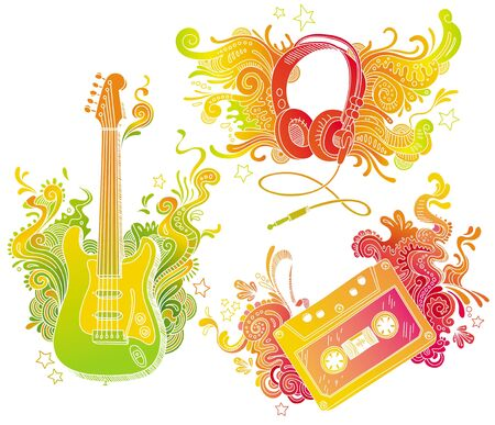 Vector musical equipments with doodle decor Vector