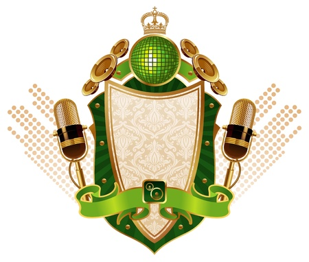 Musical vector heraldic shield with microphones Vector