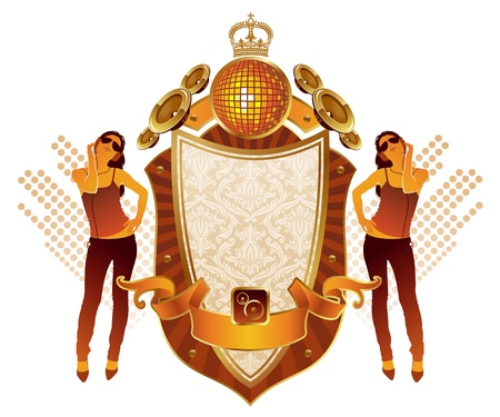 Vector musical heraldry with girl listens to music Vector