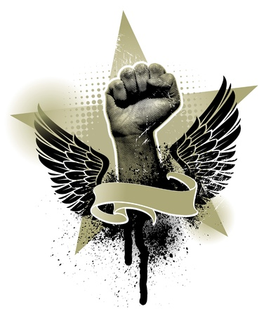 wings grunge: Vector heraldic emblem with fist hand sign