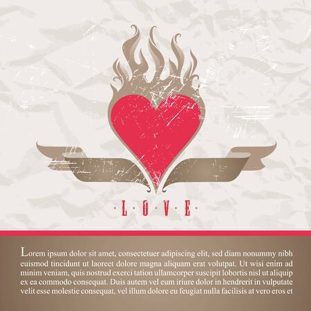 heart in flame: Old paper with vintage flaring heart - vector illustration