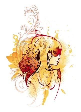 tattoo girl: Vectores Ornamentales chica del tatuaje