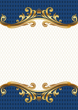gold frame: Ornate golden vector frame