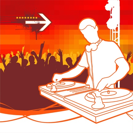 turntable: DJ on Party - vector illustration