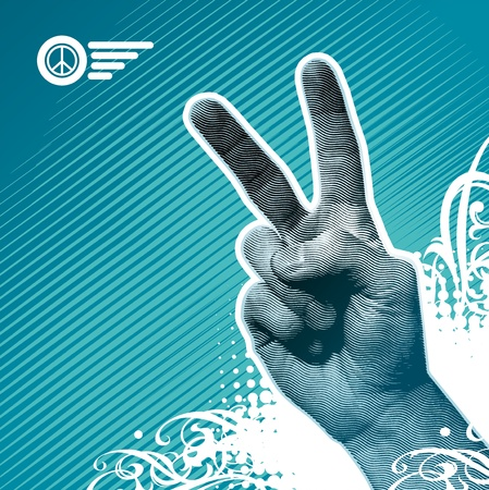 victory: Peace hand sign - vector illustration Illustration