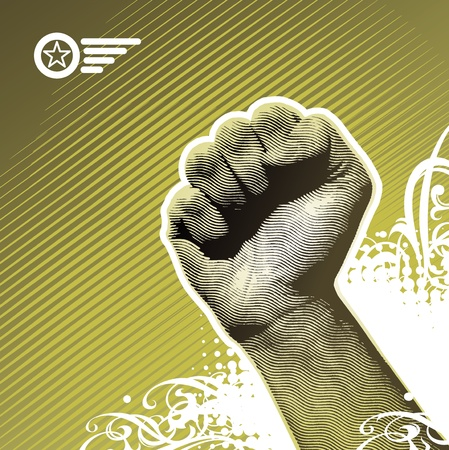protest: Protest hand sign - vector illustration