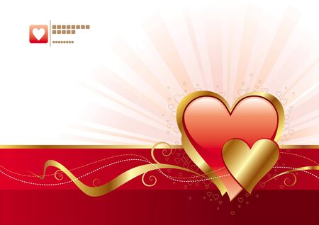 Red and gold Valentines heart - vector illustration Vector