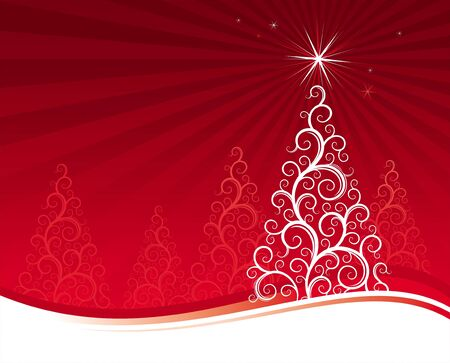Red vector background with christmas tree Vector