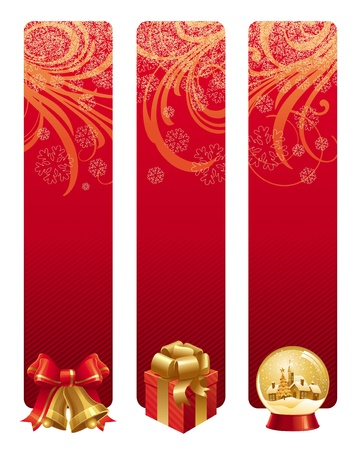 new years eve background: Red christmas vector banners with holidays symbols