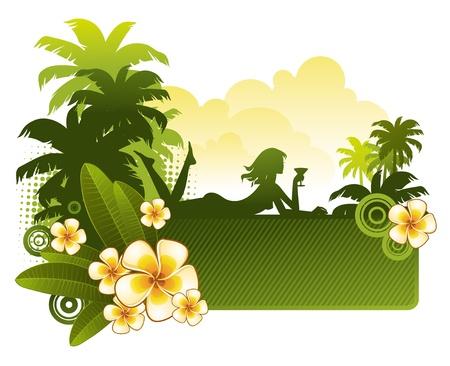 Frangipani Blumen & Silhouette ein M�dchen auf einer tropischen Landschaft - Vektor-illustration