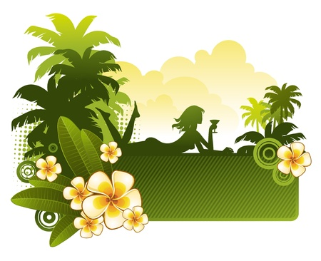 tropics: Frangipani flowers & silhouette of a girl on a tropical landscape - vector illustration