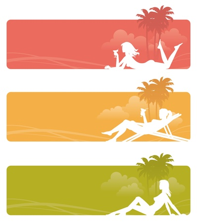 human palm: Vector banners - silhouettes of a relaxing girls on tropical landscape Illustration