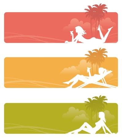 clima tropical: Vector banners - siluetas de un relajante chicas en paisaje tropical